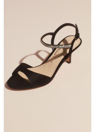Nina Black (Satin Evening Sandals with Crystal Ankle Strap)
