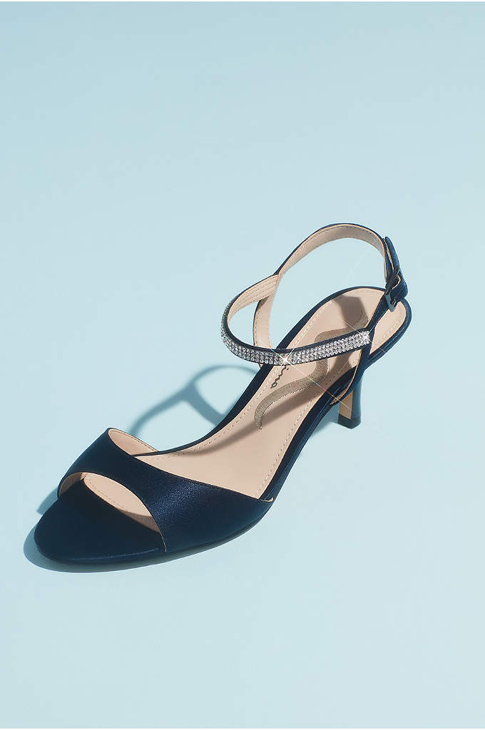 Satin Evening Sandals with Crystal Ankle Strap