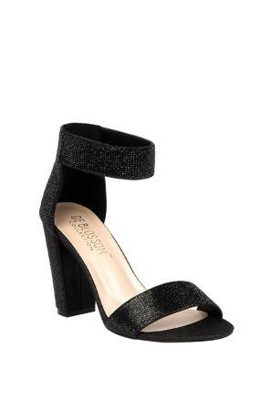Blossom Black;Grey;Pink Heeled Sandals (Crystal Block-Heel Sandals with Velcro Ankle Strap)