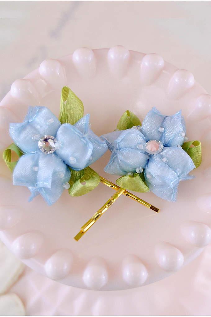 Handmade Swarovski Crystal Floral Hair Pin Set - Handmade petals are adorned with dew drops, ribbon