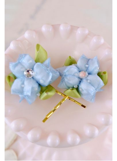 Handmade Swarovski Crystal Floral Hair Pin Set - Handmade petals are adorned with dew drops, ribbon