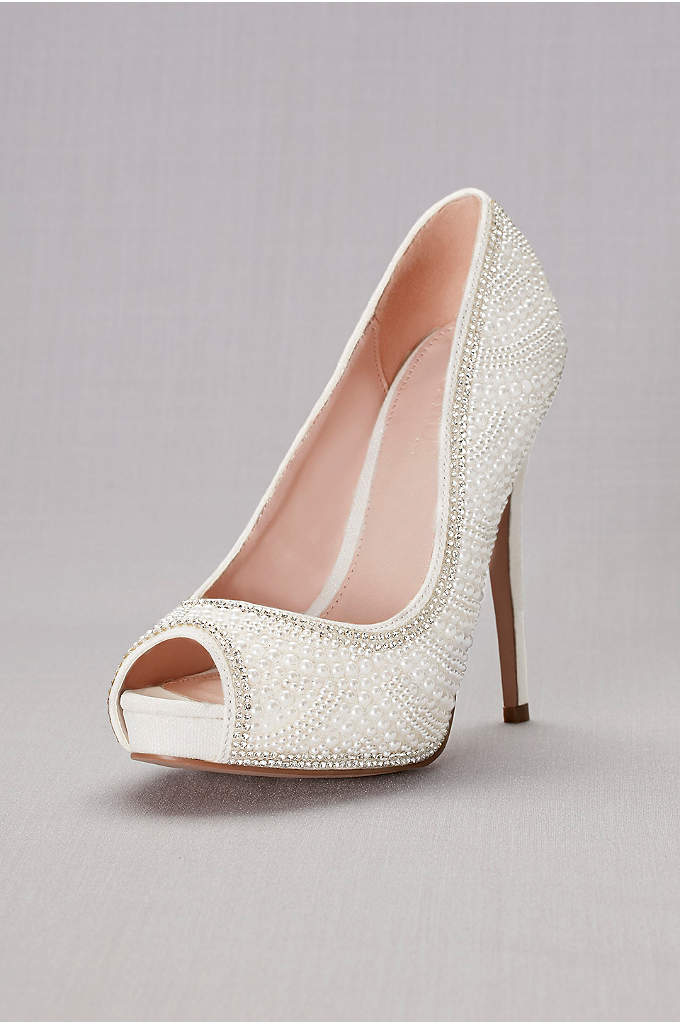 Pearl and Crystal Peep Toe Sandals - Classically chic with a pop of sparkle! High