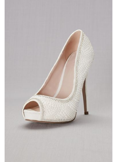 Blossom White (Pearl and Crystal Peep Toe Sandals)