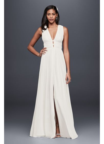 Long Sheath Beach Wedding Dress - Nicole Miller