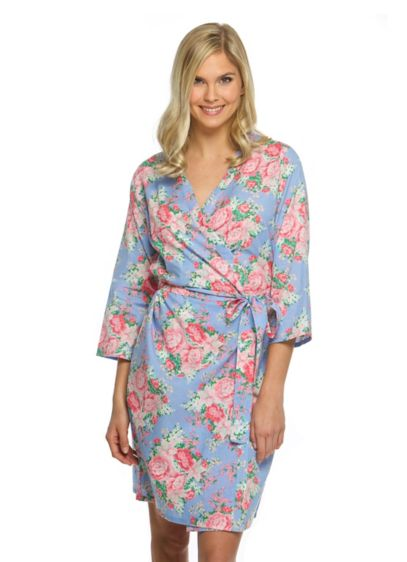 White (Cotton Floral Robe)
