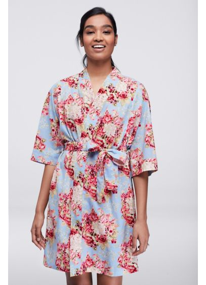 Floral Print Woven Cotton Robe - Wedding Gifts & Decorations