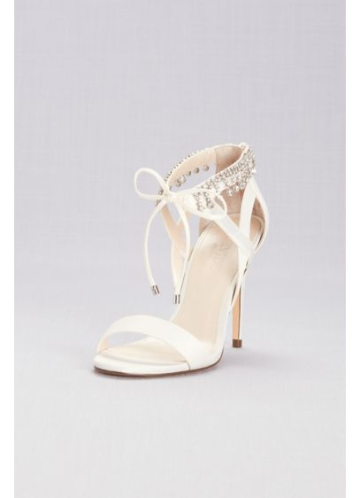 Touch of Nina Ivory (Beaded Tassel Sandals with Ankle Tie)