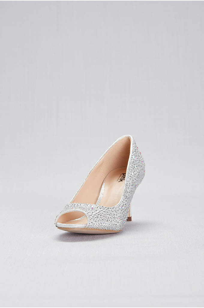 Shimmer Jewel-Encrusted Peep-Toe Pumps