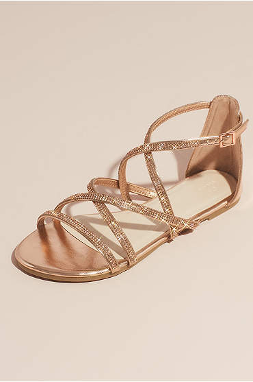 Crystal Embellished Metallic Flat Sandals