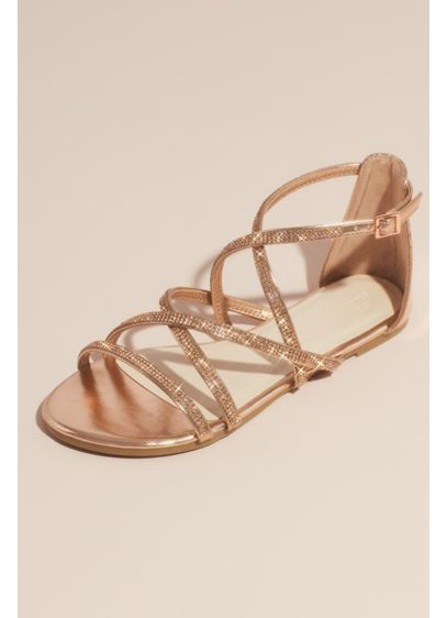 David's Bridal Pink (Crystal Embellished Metallic Flat Sandals)