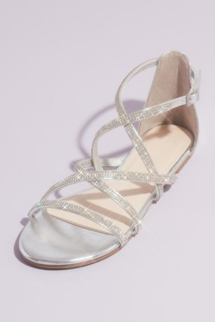 David's Bridal Grey;Pink Flat Sandals (Crystal Embellished Metallic Flat Sandals)
