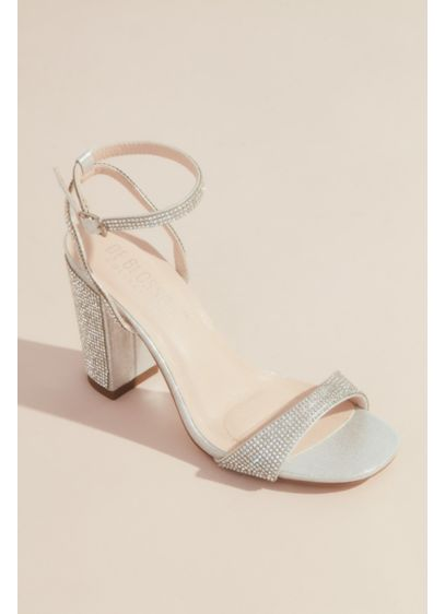 Blossom Grey (Glitter Block Heel Sandals with Ankle Strap)
