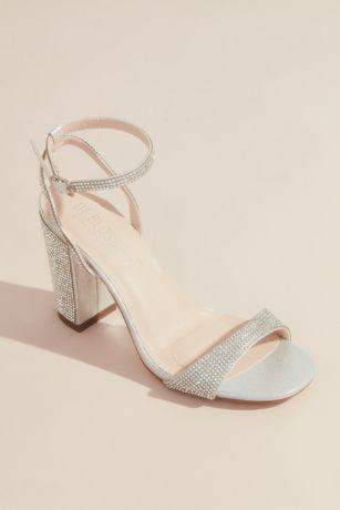 David's Bridal Grey Heeled Sandals (Sparkly Minimalist Ankle Strap Block Heel Sandals)