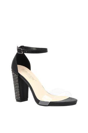 Blossom Black;Grey;Ivory Heeled Sandals (Metallic Platform Sandals with Crystal Block Heel)