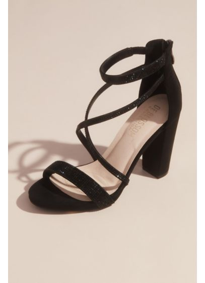 High block heel criss cross with zipper back - The ultimate dress up-dress down pair, these shimmery