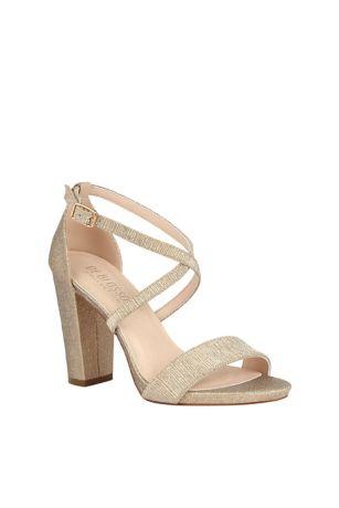 Beige;Grey Heeled Sandals (Metallic Etched Cross Strap Block Heel Sandals)