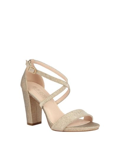 Beige (Metallic Etched Cross Strap Block Heel Sandals)