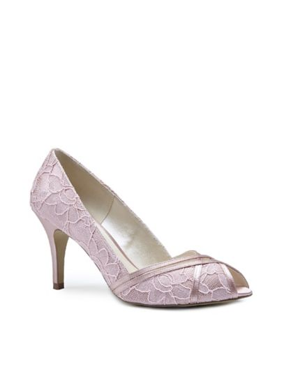 Pink Paradox Pink (Peep Toe Lace Heeled Sandals with Satin Crossover)