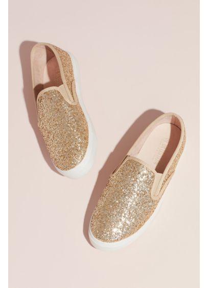 Allover Glitter Slip-On Sneakers with Rubber Sole - Add a pop of sparkle to your wedding