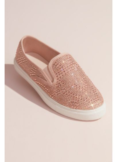 Allover Crystal Slip-On Sneakers - Crystals of varying sizes coat this fun pair