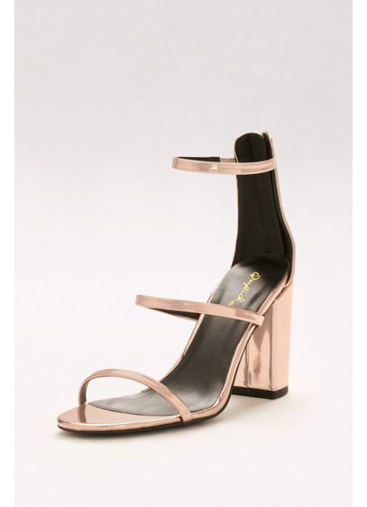 Qupid Pink (Metallic Strappy Block Heel Sandals)