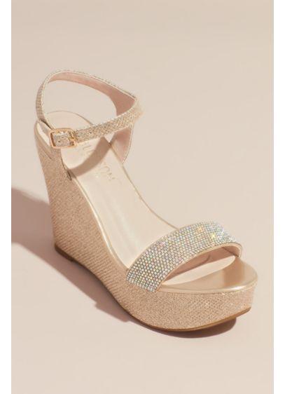 Blossom Beige (Crystal Embellished Strap Glitter Platform Wedges)