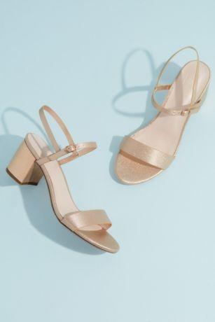 David's Bridal Ivory;Pink Heeled Sandals (Cinde Strappy Block Heel Sandal)