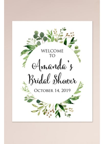 Wreath Personalized Bridal Shower Welcome Sign - Wedding Gifts & Decorations