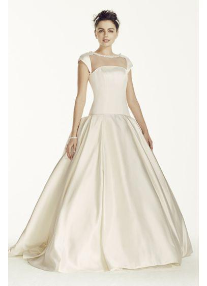 Oleg Cassini Satin Cap Sleeve Beaded Wedding Dress | David\'s Bridal