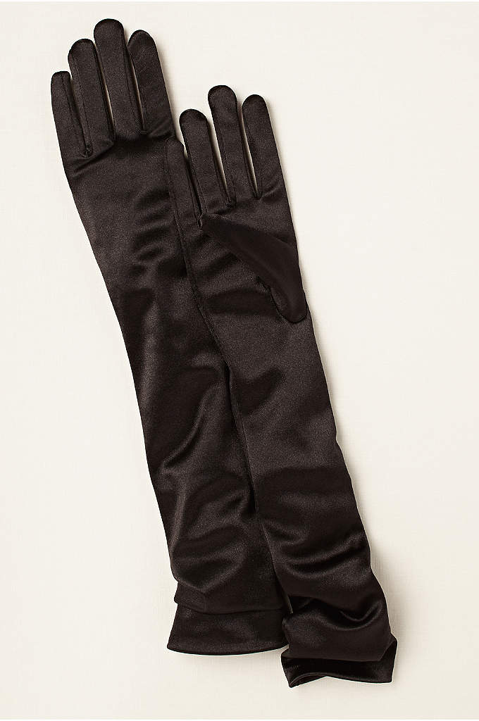 Satin Elbow-Length Gloves - These lustrous stretch-satin stunners are sure to turn