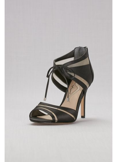 Nina Grey (Mesh-Inset Ankle-Tie High Heels)