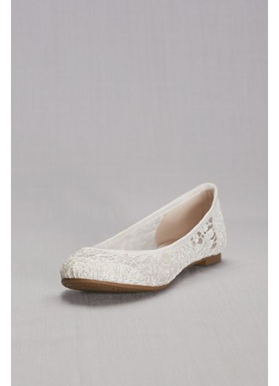 David's Bridal White (Crochet Ballet Flats)