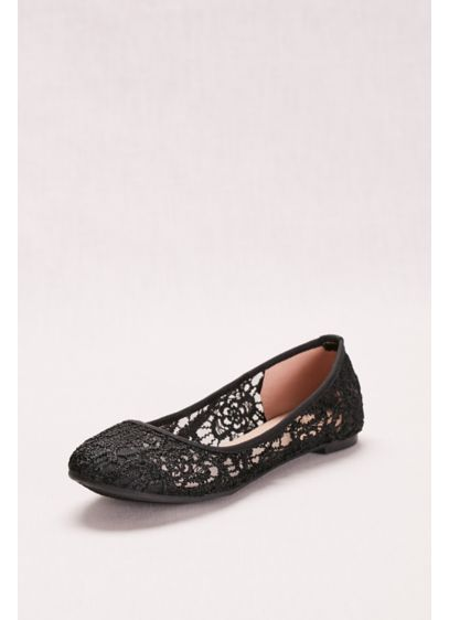 David's Bridal Black (Ballet Flats with Crochet Detail)