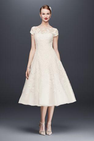 4b764d291f7a Oleg Cassini Cap Sleeve Illusion Wedding Dress | David's Bridal