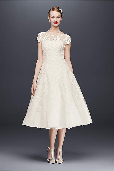 Oleg Cassini Cap Sleeve Illusion Wedding Dress