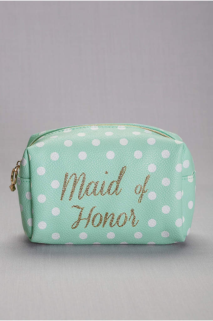 Maid of Honor Cosmetic Bag - Shadow, liner, blush, gloss: This polka-dotted make-up case