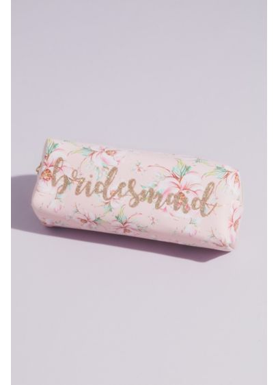 Floral Bridesmaid Cosmetic Bag with Gold Foil - Wedding Gifts & Decorations