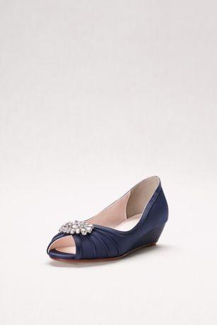 David's Bridal Blue;Purple;White Wedge Shoes (Jeweled Satin Peep-Toe Mini Wedges)
