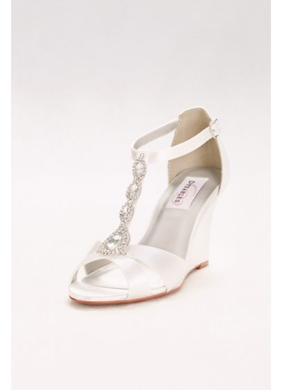 Touch Ups White (Dyeable Satin T-Strap Wedges with Crystals)