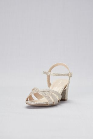 74ff95850ae Glitter Metallic Block Heel Wide Width Sandals