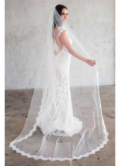 Scalloped Lace Silk Tulle Chapel Veil - Wedding Accessories