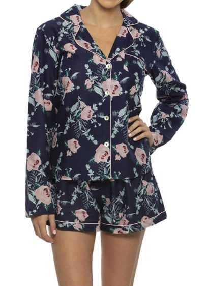 Cotton Floral Long Sleeve PJ Set - Wedding Gifts & Decorations