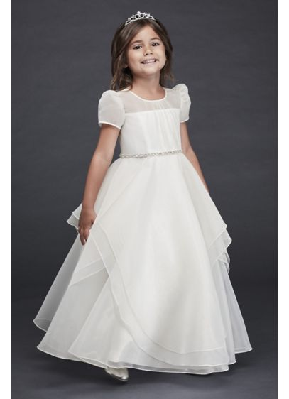 6b6545dae12 Organza Long Flower Girl Dress with Crystal Belt. David s Bridal