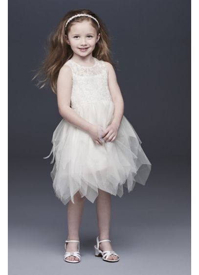 d254bb459f83 Handkerchief Hem Tulle and Lace Flower Girl Dress | David's Bridal