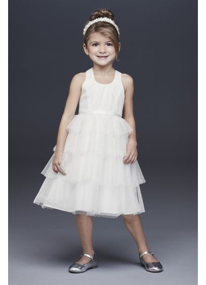 Point d'Esprit Flower Girl Dress with Heart Detail - She'll love the sweet boho details of this