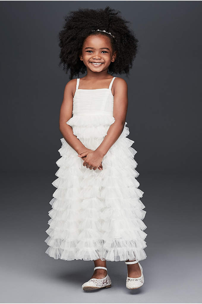 Tiered Tulle Ruffle Skirt Flower Girl Dress