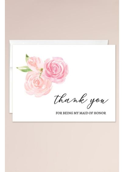 Floral Maid of Honor Thank You Blank Card - Send a meaningful thank you to the maid