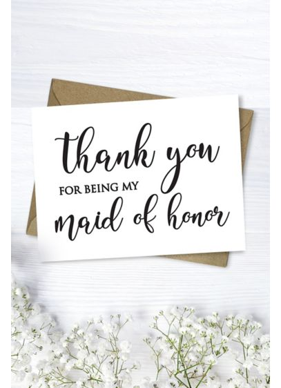 Maid of Honor Thank You Card - Wedding Gifts & Decorations
