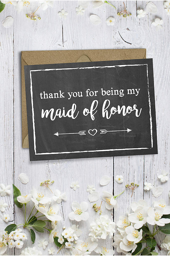 Chalkboard Maid of Honor Thank You Card - Pair your maid of honor's gift with this