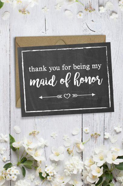 Chalkboard Maid Of Honor Thank You Card David S Bridal